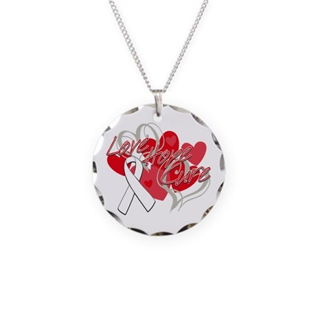 Lung Cancer Love Hope Cure Necklace Circle Charm