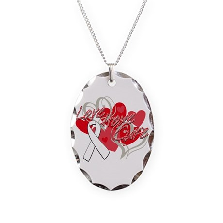 Lung Cancer Love Hope Cure Necklace Oval Charm
