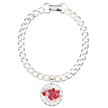 Lung Cancer Love Hope Cure Charm Bracelet, One Cha