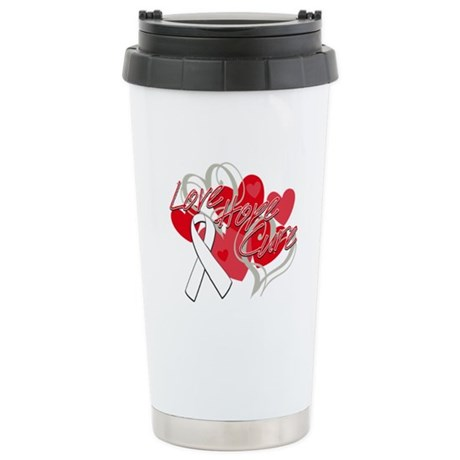 Lung Cancer Love Hope Cure Ceramic Travel Mug