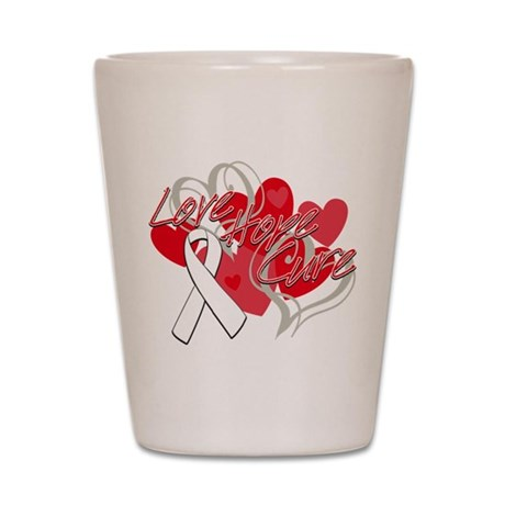 Lung Cancer Love Hope Cure Shot Glass