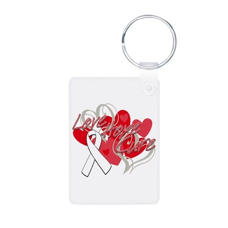 Lung Cancer Love Hope Cure Aluminum Photo Keychain