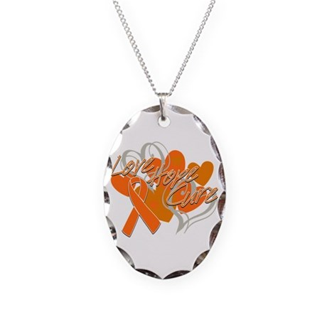 Leukemia Love Hope Cure Necklace Oval Charm