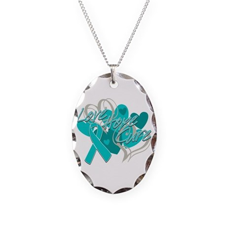 Ovarian Cancer Love Hope Cure Necklace Oval Charm