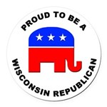 Wisconsin Republican Pride Round Car Magnet