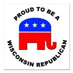 Wisconsin Republican Pride Square Car Magnet 3