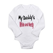 Unique White and nerdy Long Sleeve Infant Bodysuit