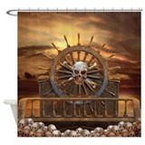 Pirate Skull Rudder Shower Curtain