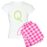 Lime and White Gingham Check Initial Q Pajamas