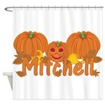 Halloween Pumpkin Mitchell Shower Curtain
