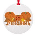 Halloween Pumpkin Mitchell Round Ornament