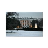 white house snow Rectangle Magnet