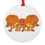 Halloween Pumpkin Parker Round Ornament