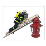 Fireman on Ladder on Fire Hydrant Small Poster