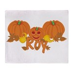 Halloween Pumpkin Roy Throw Blanket
