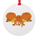 Halloween Pumpkin Roy Round Ornament