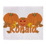 Halloween Pumpkin Ronald Throw Blanket