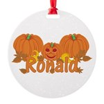 Halloween Pumpkin Ronald Round Ornament