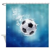Soccer Water Splash Shower Curtain