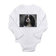 Cute Cavalier king charles spaniel tricolor Long Sleeve Infant Bodysuit