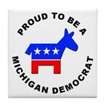 Michigan Democrat Pride Tile Coaster