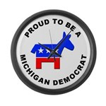 Michigan Democrat Pride Large Wall Clock