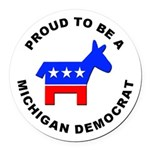 Michigan Democrat Pride Round Car Magnet