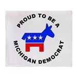 Michigan Democrat Pride Throw Blanket
