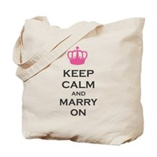 Keep Calm and Marry On Carry On Pink Crown Tote Ba