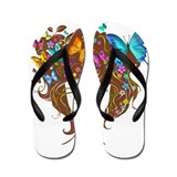 Butterflies & Flowers (Blue & Yellow) Flip Flops