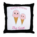 World's Sweetest Big Sister Ice Cream Throw Pillow