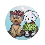 Yorkie and maltese Ornament (Round)