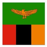 "Zambia Flag Square Car Magnet 3"" x 3"""