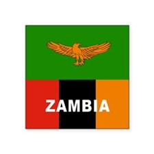 "Zambia Flag Square Sticker 3"" x 3"""