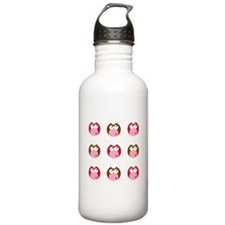 Pink Brown and Red Owls Water Bottle