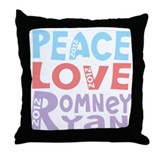 Peace Love Romney Ryan Throw Pillow
