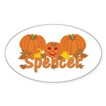 Halloween Pumpkin Spencer Sticker (Oval)