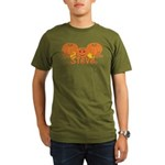 Halloween Pumpkin Steve Organic Men's T-Shirt (dar