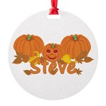 Halloween Pumpkin Steve Round Ornament