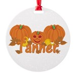 Halloween Pumpkin Tanner Round Ornament
