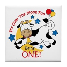 Cow Over Moon 1st Birthday Tile Coaster