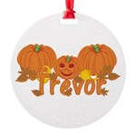 Halloween Pumpkin Trevor Round Ornament
