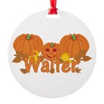 Halloween Pumpkin Walter Round Ornament