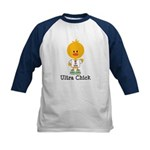 Ultra Chick Peace Love 100 Kids Baseball Jersey