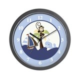 Ahoy Mate Sailboat, Monkey, Whale Nursery Clock