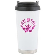 Girl on Fire (pink) WHT Ceramic Travel Mug