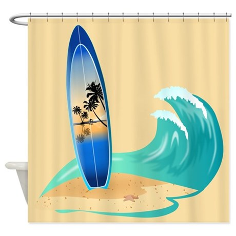 Surfboard shower curtain by stolenmomentsph for Surf bathroom ideas