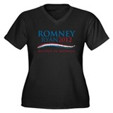 Romney Ryan Women's Plus Size V-Neck Dark T-Shirt