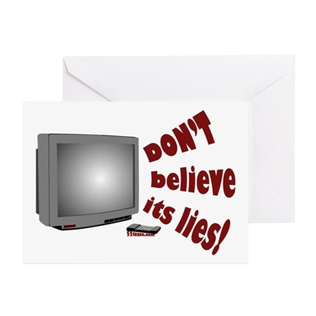 Television Lies anti-TV Greeting Cards (8 cards)