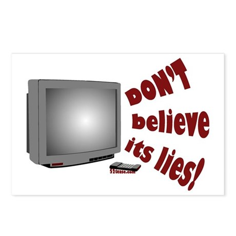 Television Lies anti-TV Postcards (Package of 8)